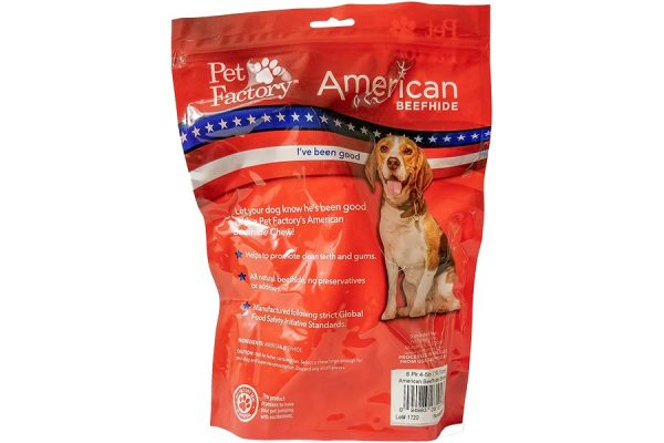 "Medium Bag of Pet Factory's American Beefhide Bones 8 pack _4-5"" Bones, back panel"