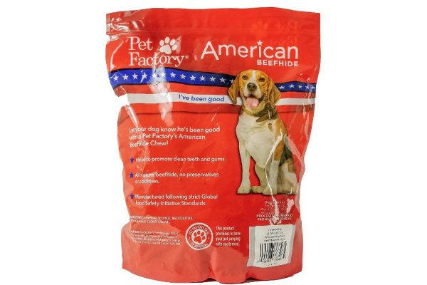 X-Large bag of Pet Factory's American Beefhide Beef Flavored Chips, 32oz. bag, back panel