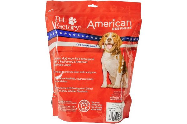 "X-Large Bag of Pet Factory's American Beefhide Chicken Flavored Braided Sticks Pack of 14, 6"" sticks, back panel"
