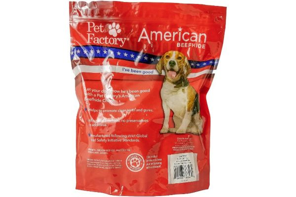 X-Large bag of Pet Factory's American Beefhide Chicken Flavored Chips, 32 oz. bag, back Panel