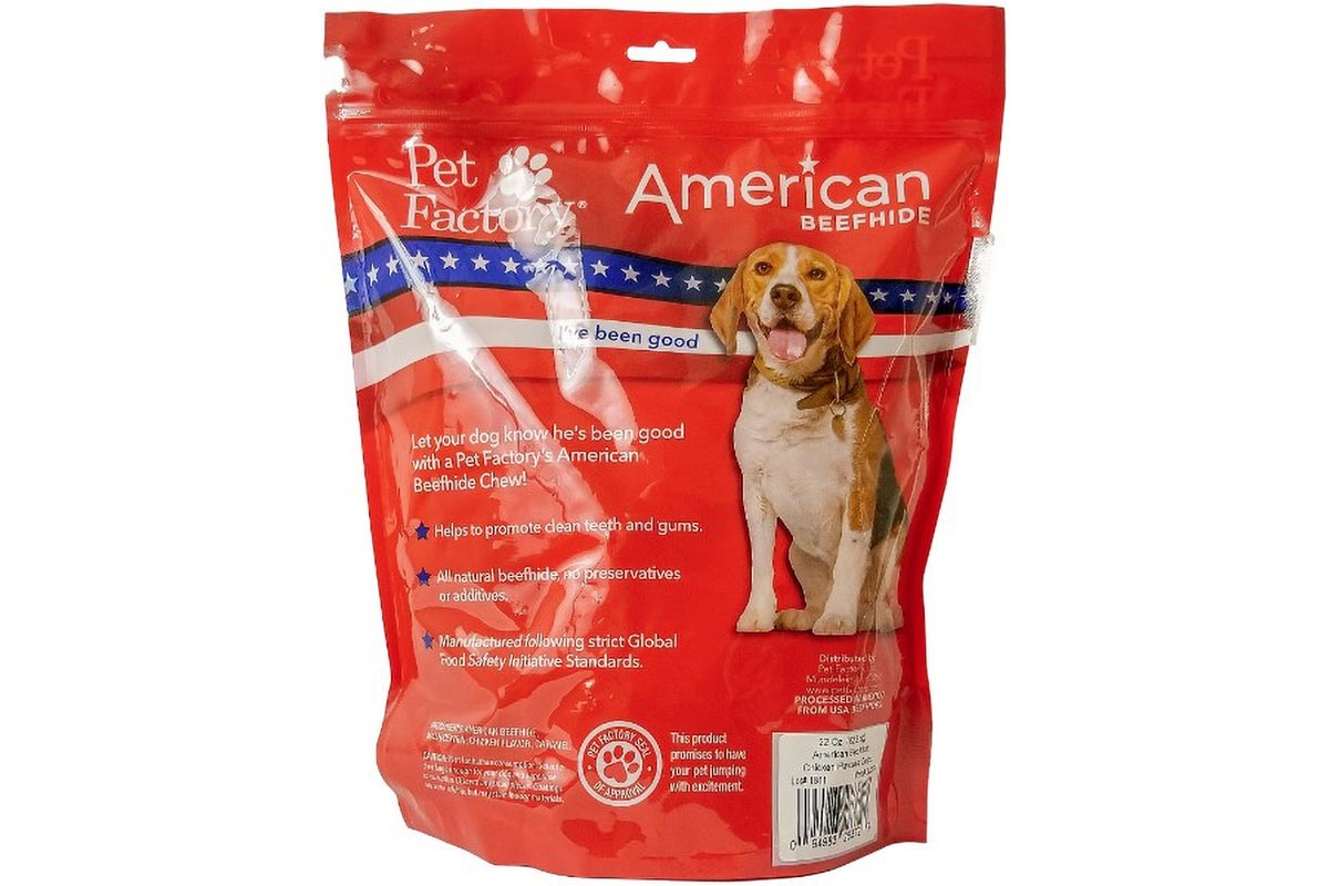 X- Large bag of Pet Factory's American Beefhide Chicken Flavored Chips, 22oz. bag, back panel