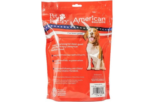 "Medium Bag of Pet Factory's American Beefhide Chicken Flavored Rolls (Curls) Pack of 10, 4-4.5"" Rolls (Curls), back panel"
