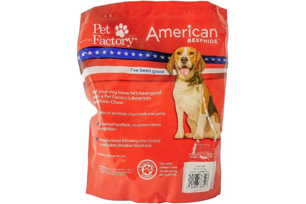 X-large bag of Pet Factory's American Beefhide Chips, 32oz. bag, back panel