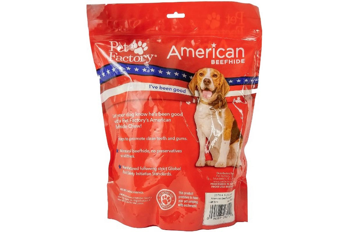 : X-Large Bag of Pet Factory' American Beefhide Bones pack of 22, 4 to 5 inch bones , Back panel