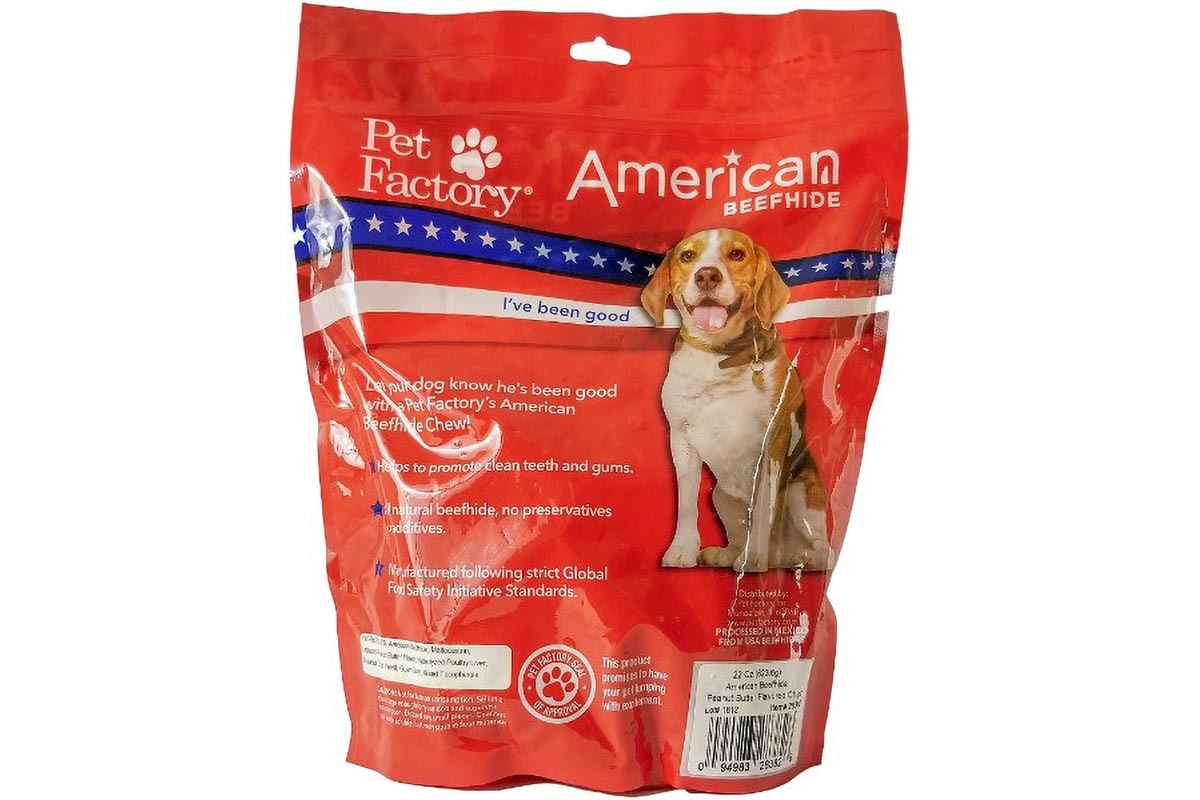 X-Large bag of Pet Factory's American Beefhide Peanut Butter Flavored Chips , 22oz. bag, back panel