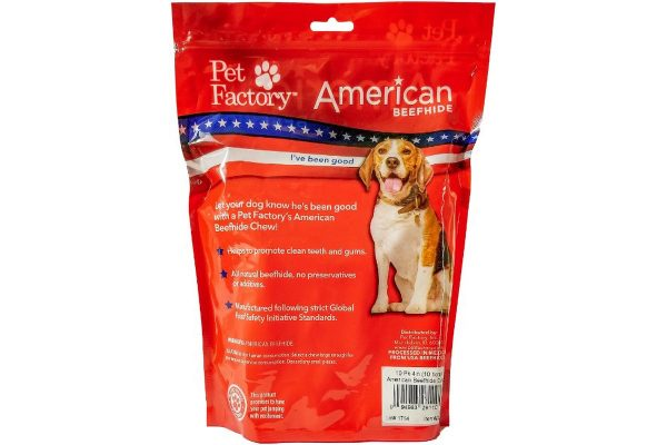 Medium Bag of PetFactory's Beefhide Rolls ( Curls ) pack of 100, back panel
