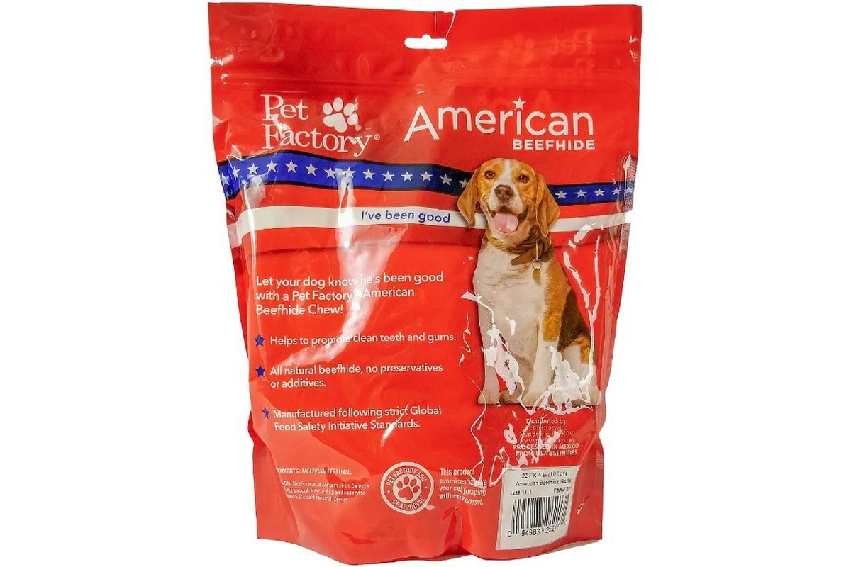 X-Large bag of Pet Factory American Beefhide Rolls (Curls) pack of 22, 4 to4.5 inch rolls (curls), back panel