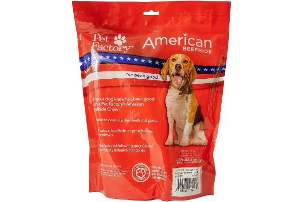 "X-Large Bag of Pet Factory's American Beefhide Thin Rolls Pack of 35, 10"" thin rolls, back panel"