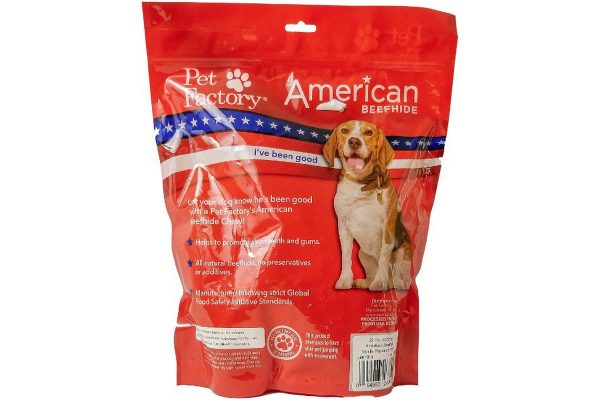 X-Large bag of Pet Factory's American Beefhide Vanilla Flavored Chips, 22oz., back panel