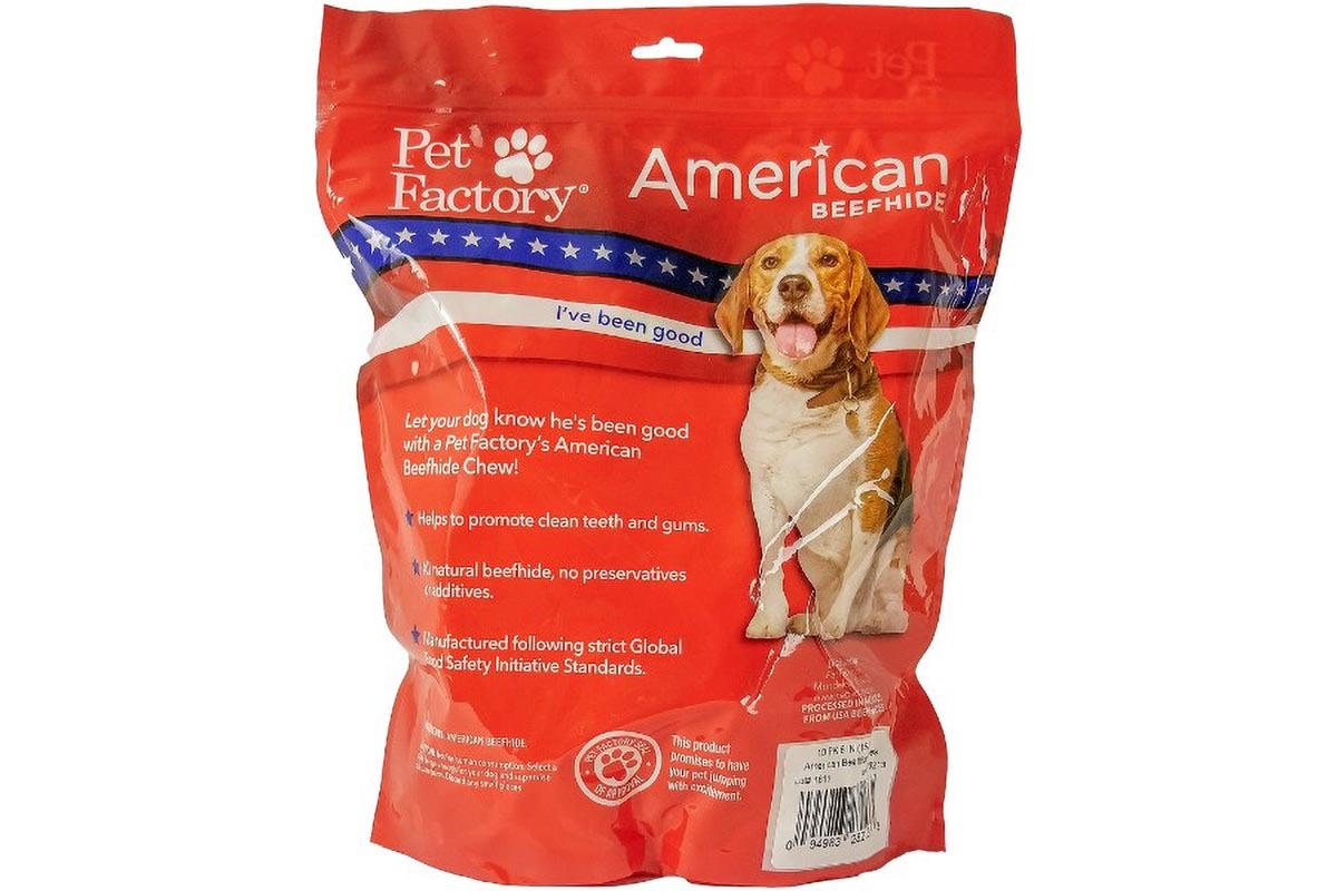 "X-Large Bag of Pet Factory's American Beefhide Bones pack of 10, 6 to 7"" Bones, Back panel"