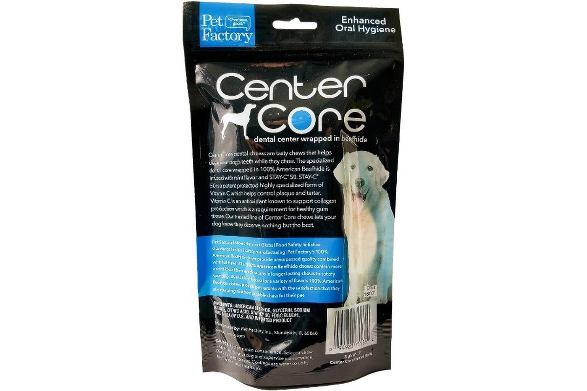 "Pack of three Pet Factory Dental Fusion ""Center Core"" Roll wrapped in Beefhide, three 6"" bones, back panel"
