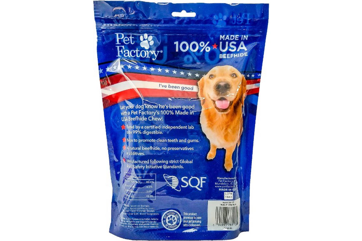 "Medium Bag of Pet Factory's 100% USA Beefhide, Assorted Beef & Chicken flavored Chip Rolls, pack of 18, 5""Chip Rolls, back panel"