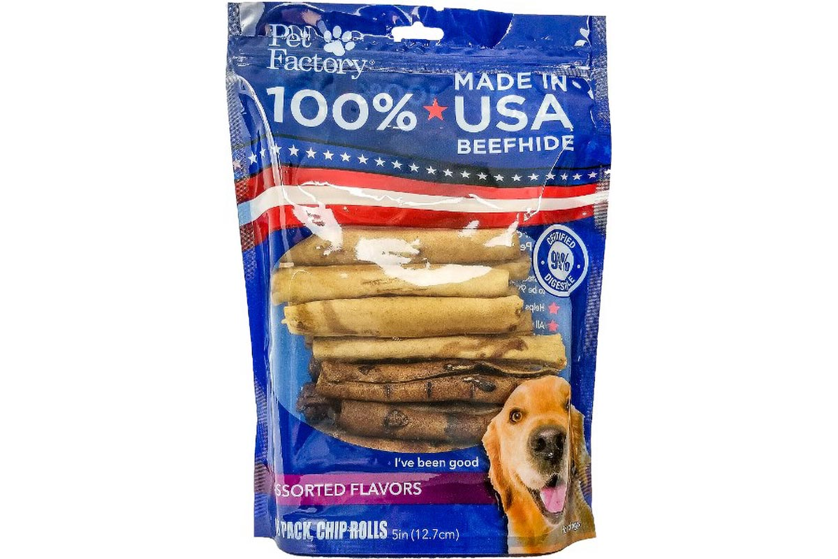 "Medium Bag of Pet Factory's 100% USA Beefhide, Assorted Beef & Chicken flavored 5"" Chip Rolls, pack of 18, front view"