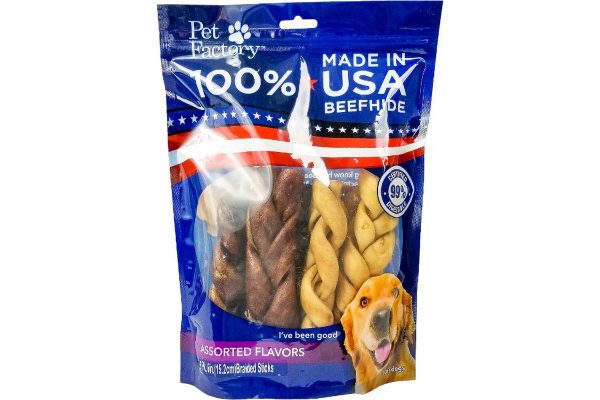 "Medium Bag of Pet Factory's 100% USA Beefhide, Assorted Beef & Chicken flavored 6"" Braided sticks, pack of 6, front view"