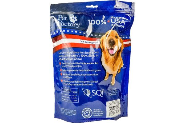 "Medium Bag of Pet Factory's 100% USA Beefhide, Assorted Beef & Chicken flavored 6"" Braided sticks, pack of 6, back panel"