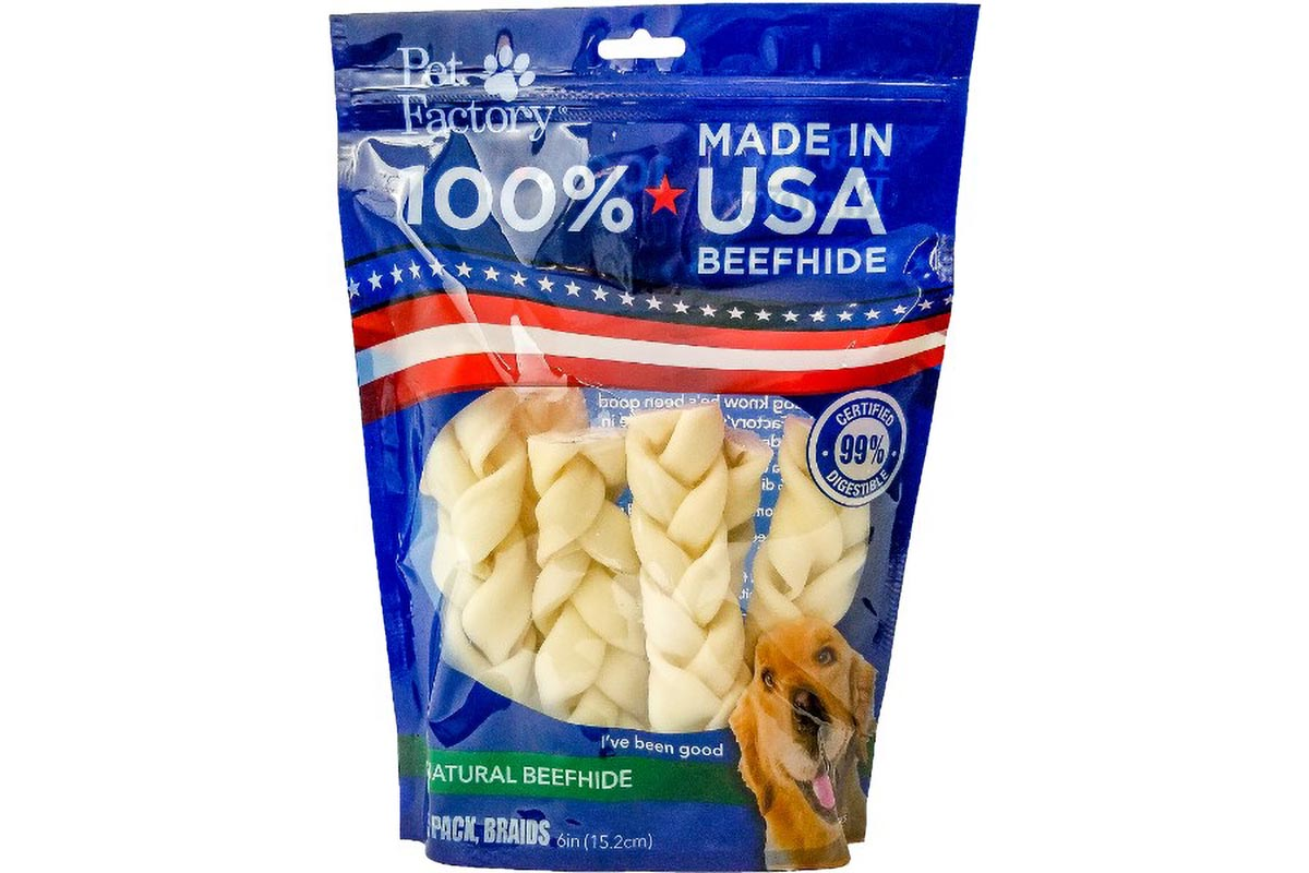 Medium Bag of Pet Factory 100% USA Beefhide Braided Sticks, pack of 6, 6 inch braided sticks, front view