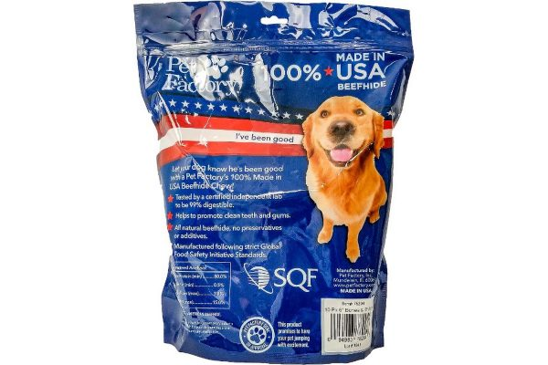 "X-Large bag of Pet Factory 100% USA Beefhide Medium Dog Assortment, 10 pack, 5 6-7"" Bones, 5 6-7"" Rolls, back panel"