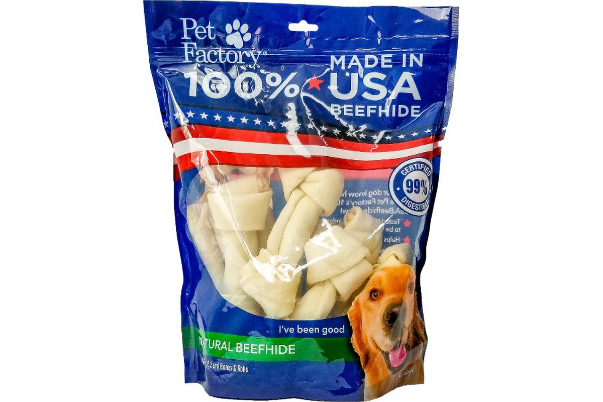 "-Large bag of Pet Factory 100% USA Beefhide Medium Dog Assortment, 10 pack, 5 6-7"" Bones, 5 6-7"" Rolls, front view"