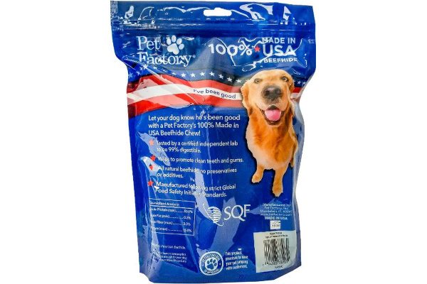 "4 pack Medium Dog Assortment of Pet Factory 100% USA Beefhide , 3 6-7"" Bones, 1 6-7"" Roll, back panel"