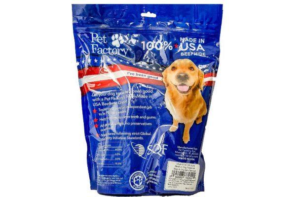 X-Large bag of Pet Factory 100% USA Beefhide Beef & Chicken Flavored Medium Dog Assorted 10pk, 5 Bones, 5 Rolls, back panel