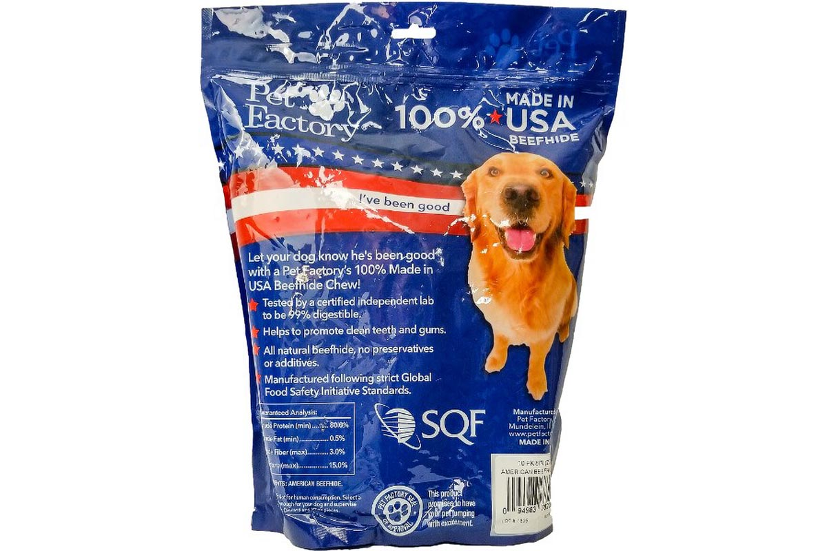 "X-Large bag of Pet Factory 100% USA Beefhide Rolls – Medium pack of 10, 8"" rolls, back Panel"