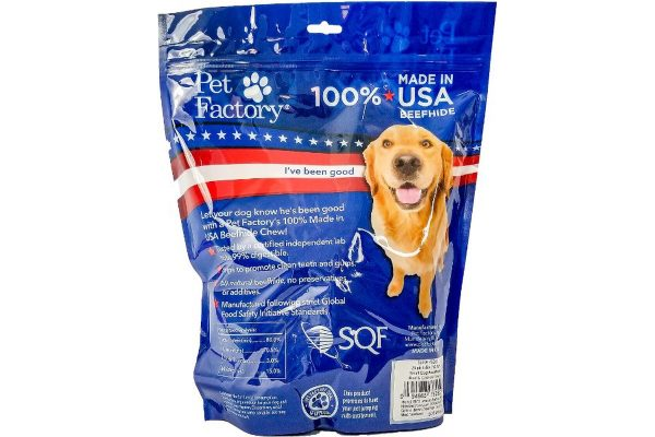 X-Large Pet Factory 100% USA Beefhide Beef & Chicken flavored Small Dog Assorted 25pk, 12 Bones, 13 Chip Rolls, back panel
