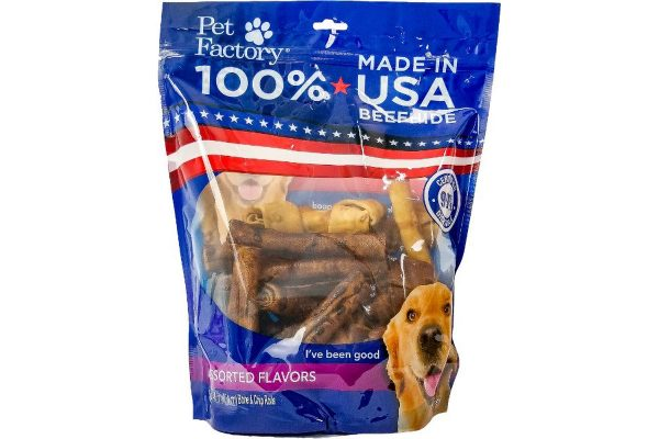 X-Large Pet Factory 100% USA Beefhide Beef & Chicken flavored Small Dog Assorted 25pk, 12 Bones, 13 Chip Rolls, front view