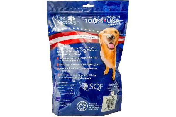 "10 pack small dog assortment of Pet Factory 100% USA Beefhide ,Six 4-5"" Bones, four 4-5"" Chip Rolls, back panel"