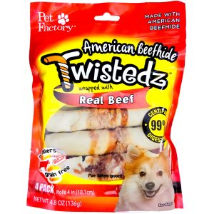 Twistedz 4 pack 4 inch rolls wrapped with reall beef
