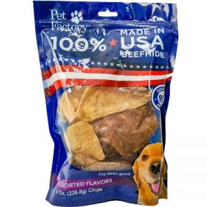 100% Beefhide Assorted Beef and Chicken Chips 8oz. Medium Bag_front of bag