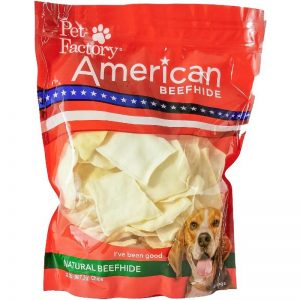 X-large bag of Pet Factory's American Beefhide Chips, 32oz. bag, front view