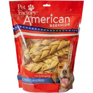 "X-Large Bag of Pet Factory's American Beefhide Chicken Flavored Braided Sticks Pack of 14, 6"" sticks, front view"