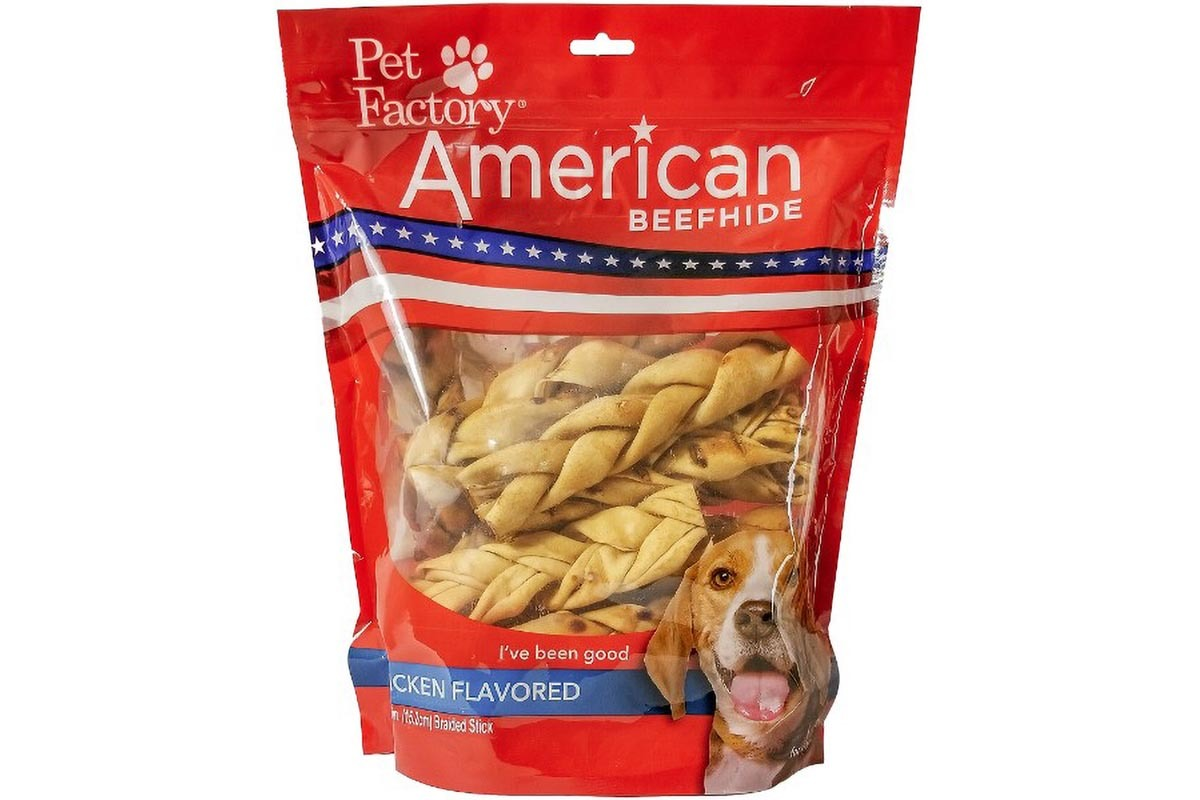 """X-Large Bag of Pet Factory's American Beefhide Chicken Flavored Braided Sticks Pack of 14, 6"""" sticks, front view"""