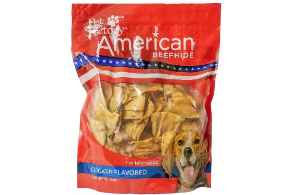 X-Large bag of Pet Factory's American Beefhide Chicken Flavored Chips, 32 oz. bag, front view