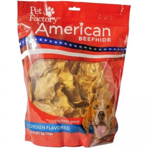 X- Large bag of Pet Factory's American Beefhide Chicken Flavored Chips, 22oz. bag, front view