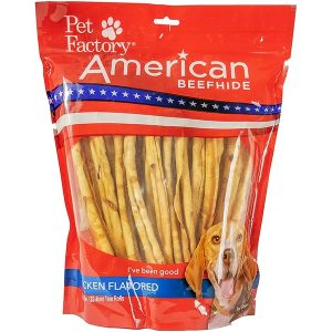X-Large Bag of Pet Factory's American Beefhide Chicken Flavored Thin Rolls Pack of 35, 10 inch thin rolls, front view