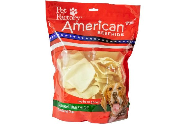 X-Large Bag of Pet Factory's American Beefhide Chips, 22oz., front view