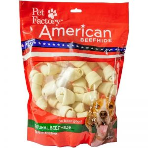 X-Large Bag of Pet Factory' American Beefhide Bones pack of 22, 4 to 5 inch bones , front view