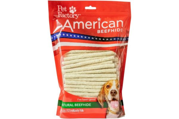 Medium Bag of PetFactory's Munchy Mini Rolls pack of 100, 5 inch munchy mini rolls, front view