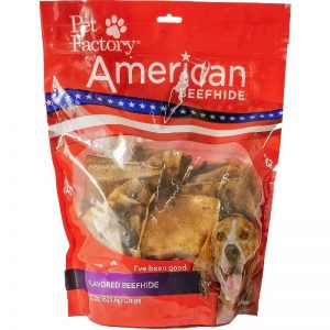 X-Large bag of Pet Factory's American Beefhide Peanut Butter Flavored Chips , 22oz. bag, front view