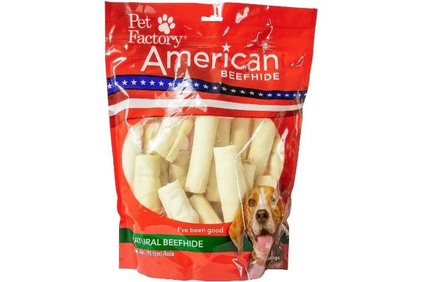 X-Large bag of Pet Factory American Beefhide Rolls (Curls) pack of 22, 4 to4.5 inch rolls (curls), front of bag