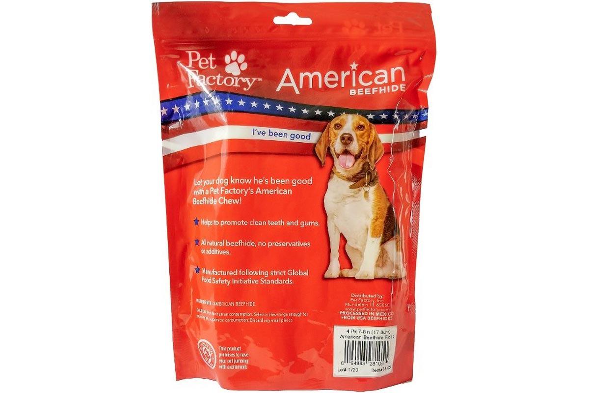 Medium Bag of Pet Factory's American Beefhide Rolls 4 pack, back panel