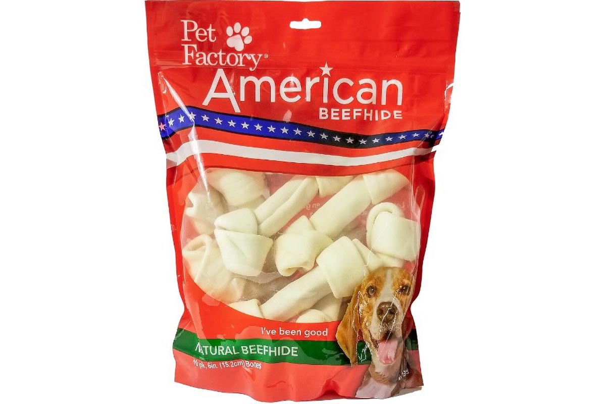 "X-Large Bag of Pet Factory's American Beefhide Bones pack of 10, 6 to 7"" Bones, Front view"