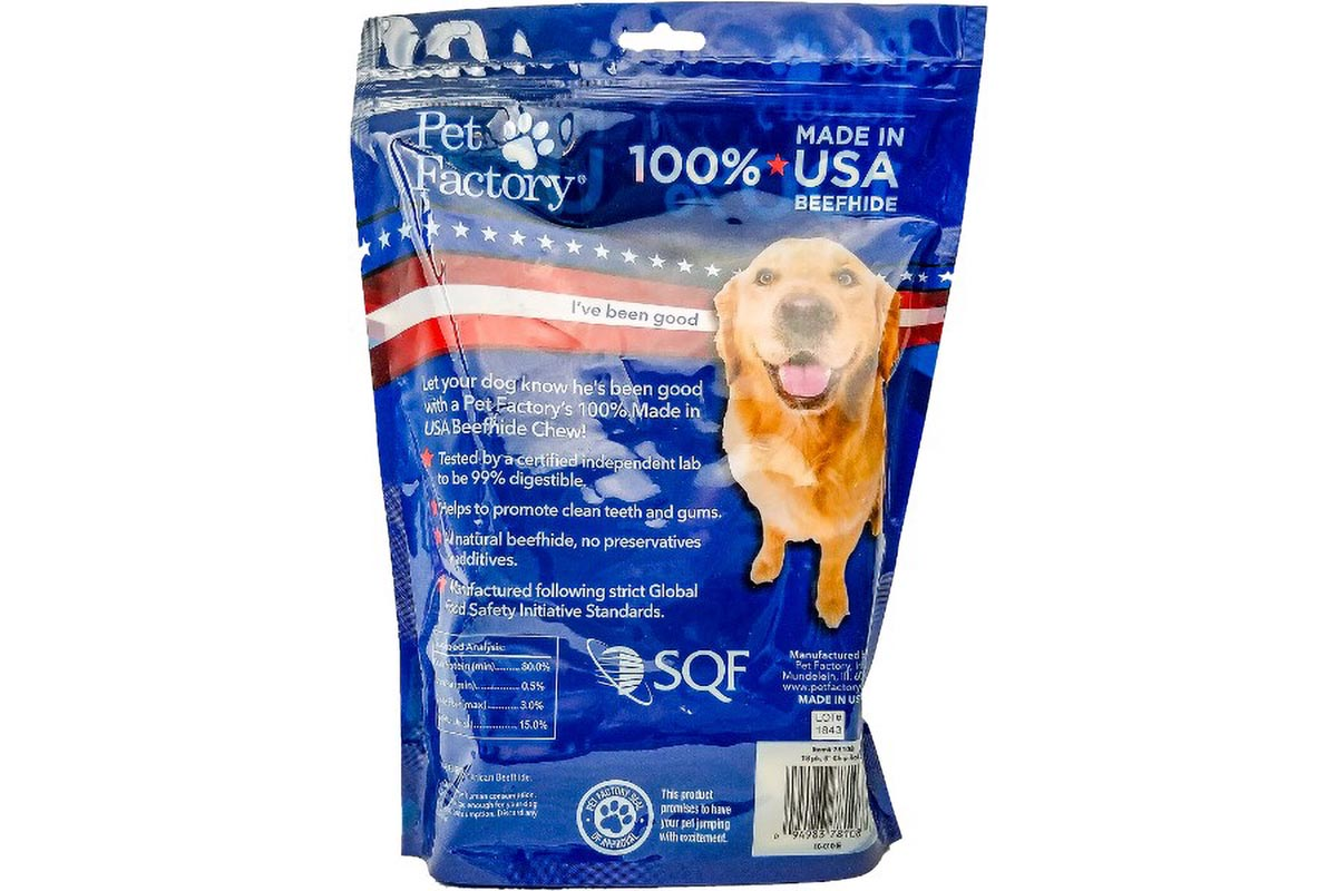 "Medium Bag of Pet Factory's 100% USA Beefhide Chip Rolls, Pack of 18, 5"" Chip Rolls, back panel"