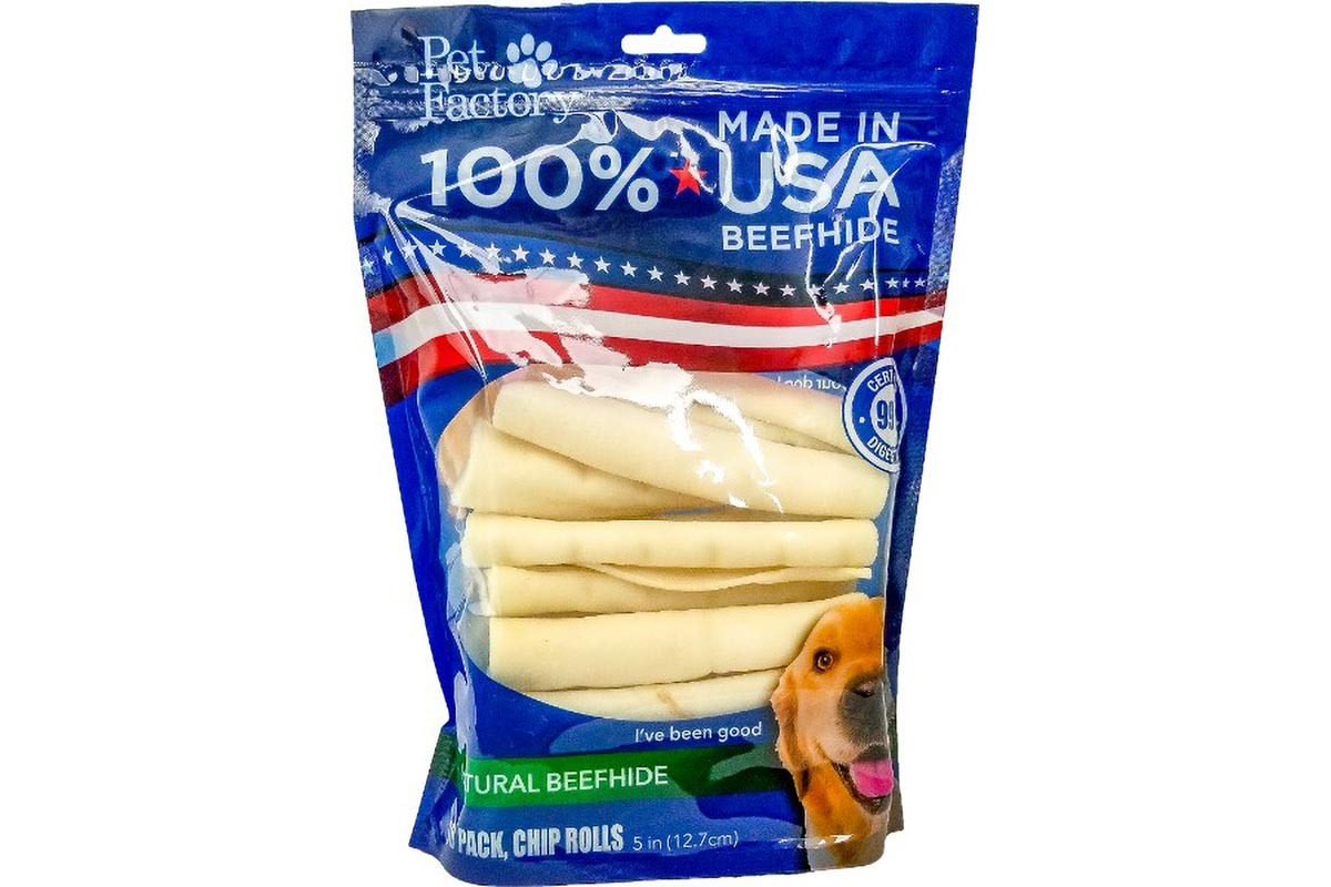 "Medium Bag of Pet Factory's 100% USA Beefhide Chip Rolls, Pack of 18, 5"" Chip Rolls, front view"