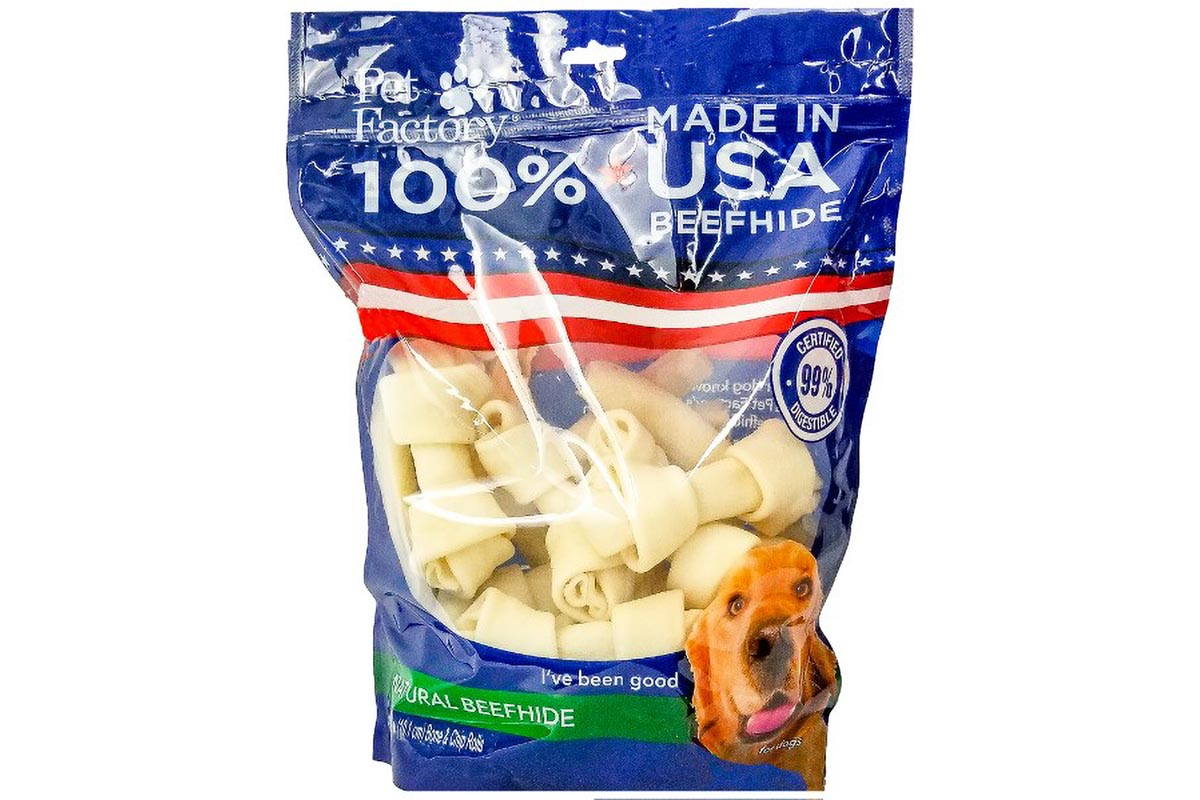 "X-Large Bag of Pet Factory's 100% USA Beefhide Small Dog Assortment , Pack of 25, 12 4-5"" bones, 13 4-5"" Chip Rolls, front view"