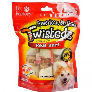 "Bag of TWISTEDZ® American Beefhide Bone w/Beef Meat Wrap, pack of 3 ,4-5"" Bones, front view"