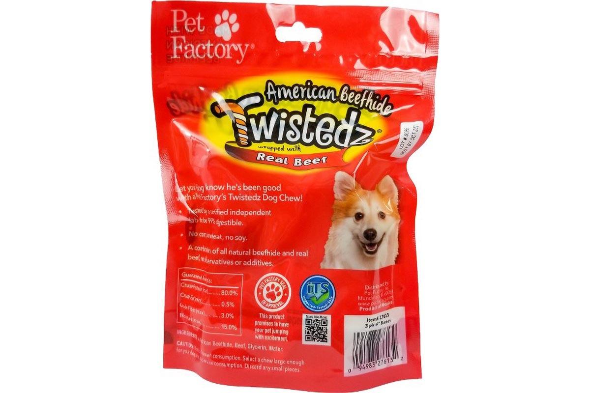"""Bag of TWISTEDZ® American Beefhide Bone w/Beef Meat Wrap, pack of 3 ,4-5"""" Bones , back Panel"""