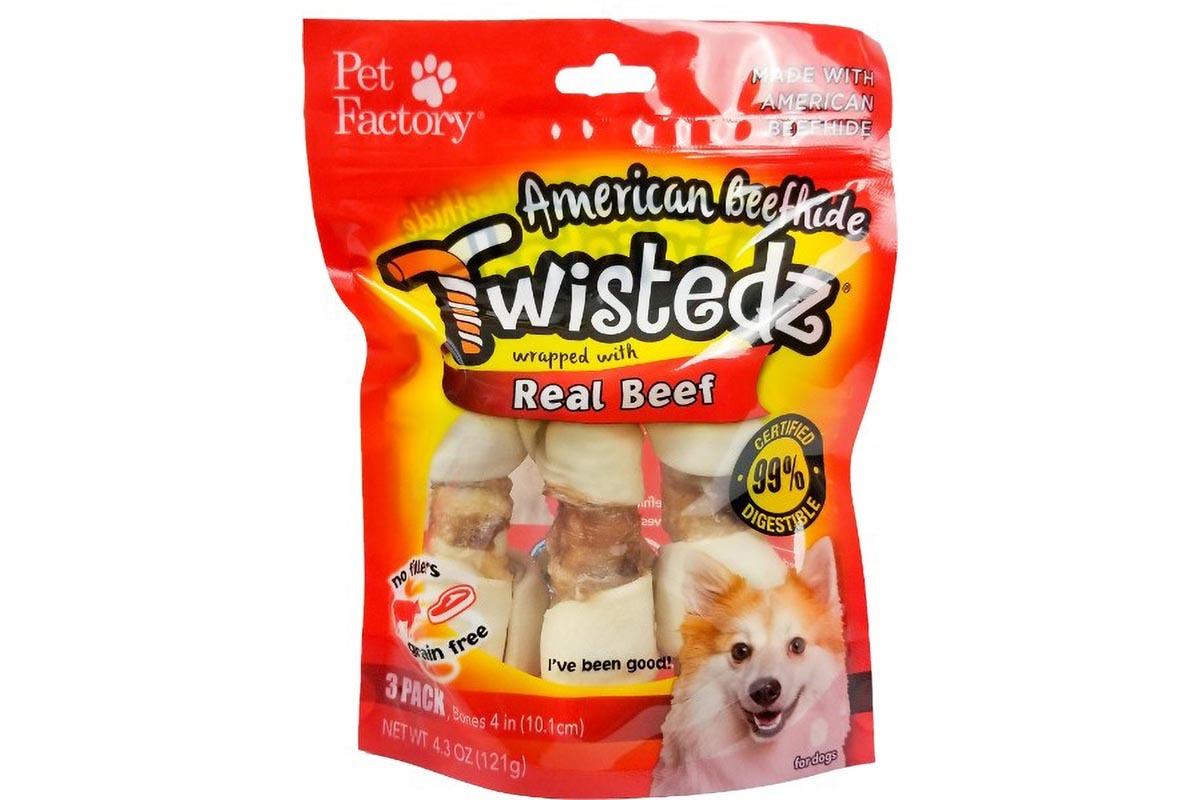 "Bag of TWISTEDZ® American Beefhide Bone w/Beef Meat Wrap, pack of 3 ,4-5"" Bones, front view"