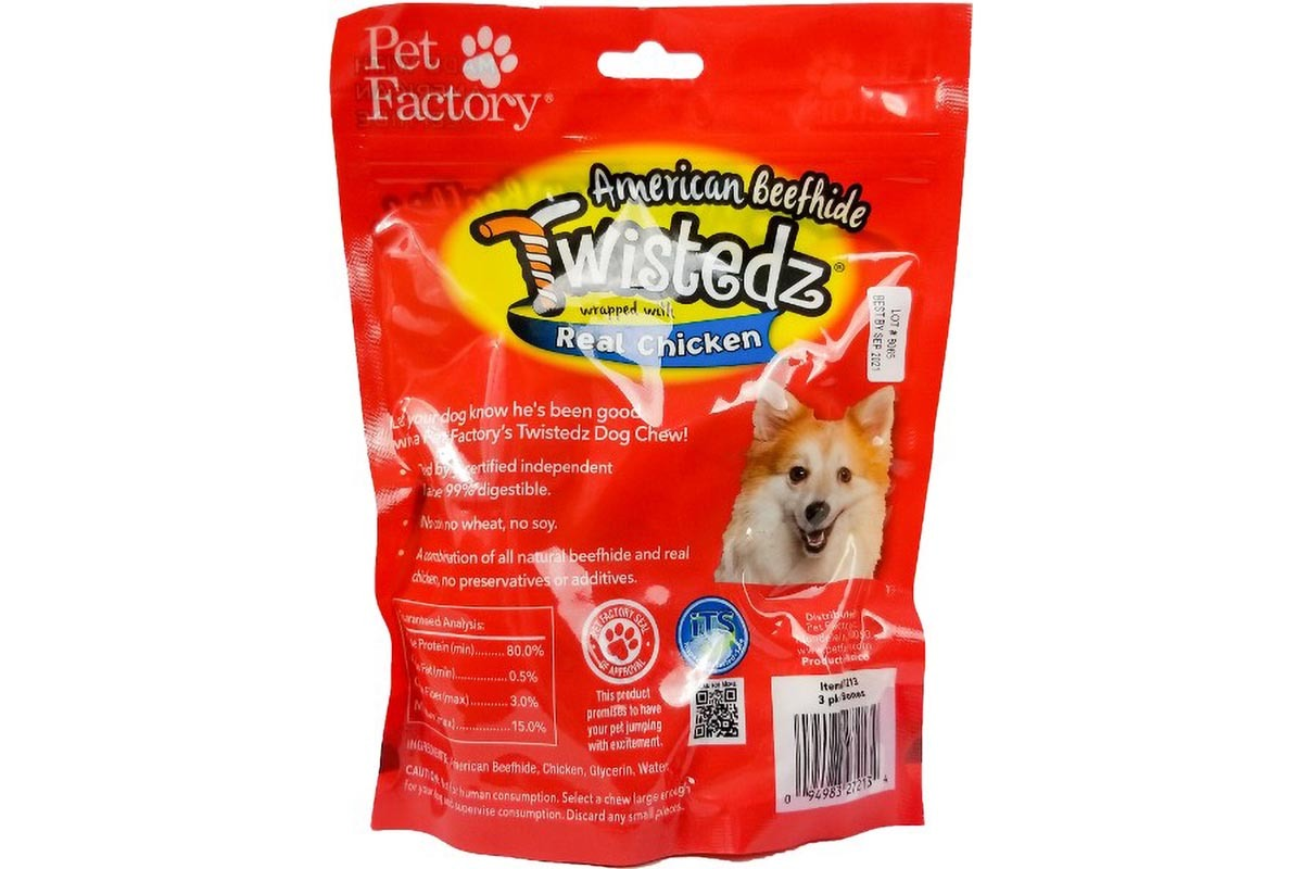"Bag of WISTEDZ® American Beefhide Bone w/Chicken Meat Wrap, Pack of three, 4-5"" Bones, Front view"